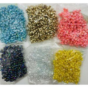 6 BAGS Gems 10MM TRI Propeller Beads BLK,PINK,YELL